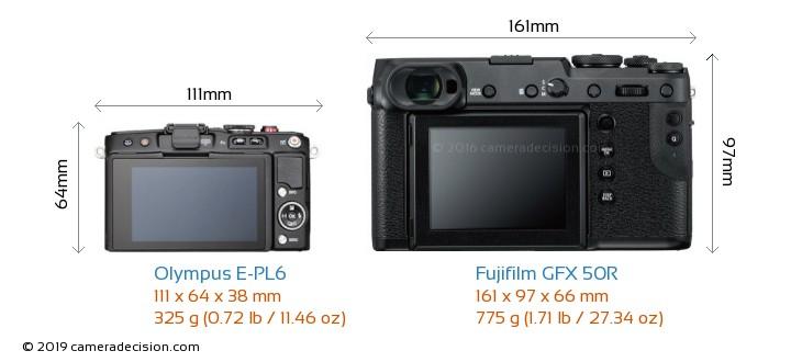 Olympus E-PL6 vs Fujifilm GFX 50R Camera Size Comparison - Back View