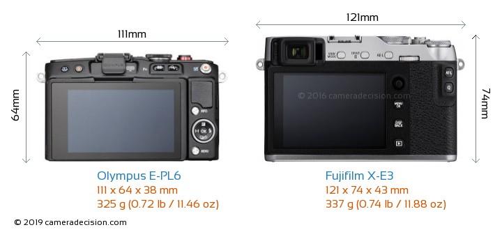 Olympus E-PL6 vs Fujifilm X-E3 Camera Size Comparison - Back View