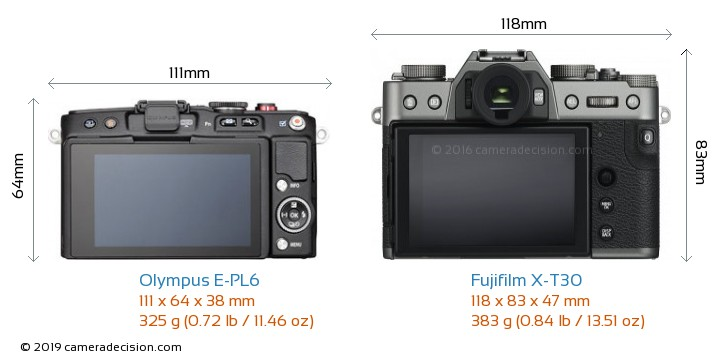 Olympus E-PL6 vs Fujifilm X-T30 Camera Size Comparison - Back View