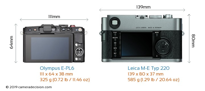 Olympus E-PL6 vs Leica M-E Typ 220 Camera Size Comparison - Back View