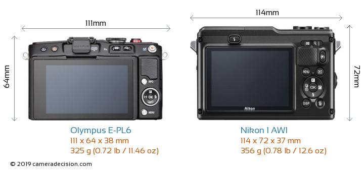 Olympus E-PL6 vs Nikon 1 AW1 Camera Size Comparison - Back View