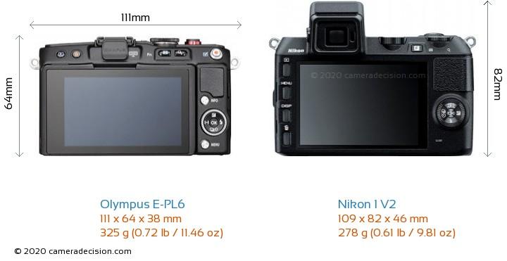 Olympus E-PL6 vs Nikon 1 V2 Camera Size Comparison - Back View