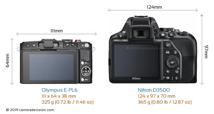 Olympus E-PL6 vs Nikon D3500 Camera Size Comparison - Back View