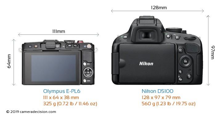 Olympus E-PL6 vs Nikon D5100 Camera Size Comparison - Back View