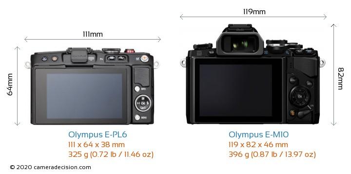 Olympus E-PL6 vs Olympus E-M10 Camera Size Comparison - Back View