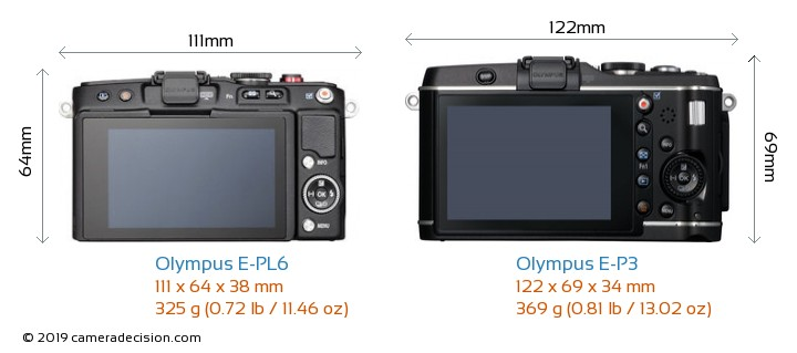 Olympus E-PL6 vs Olympus E-P3 Camera Size Comparison - Back View
