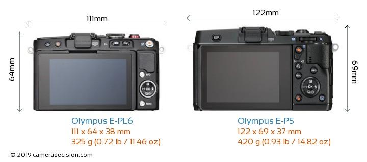 Olympus E-PL6 vs Olympus E-P5 Camera Size Comparison - Back View