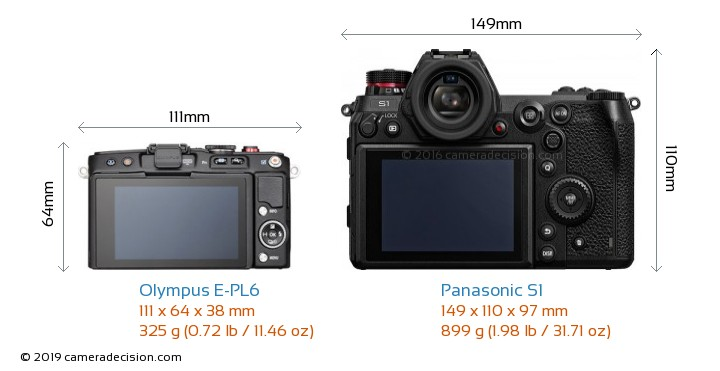 Olympus E-PL6 vs Panasonic S1 Camera Size Comparison - Back View