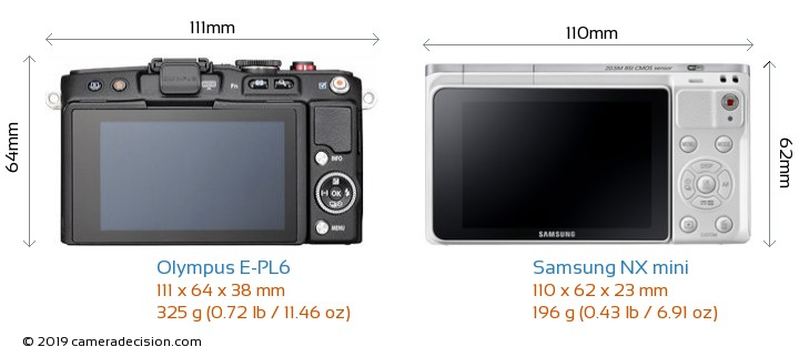 Olympus E-PL6 vs Samsung NX mini Camera Size Comparison - Back View