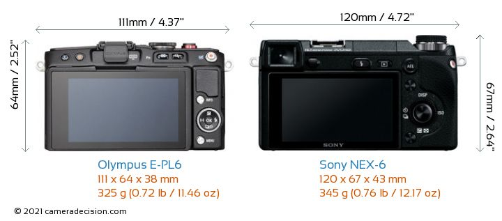 Olympus E-PL6 vs Sony NEX-6 Camera Size Comparison - Back View