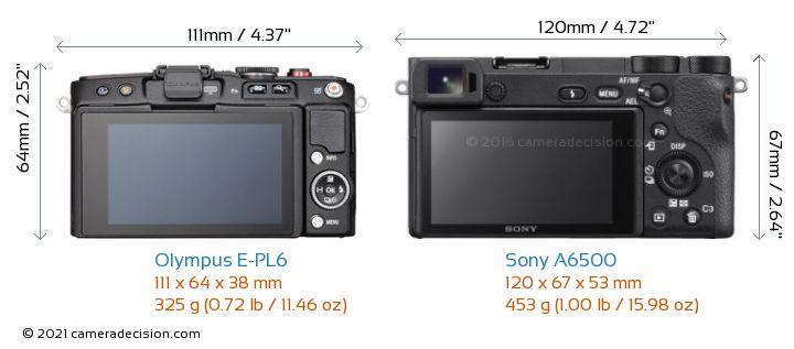 Olympus E-PL6 vs Sony A6500 Camera Size Comparison - Back View