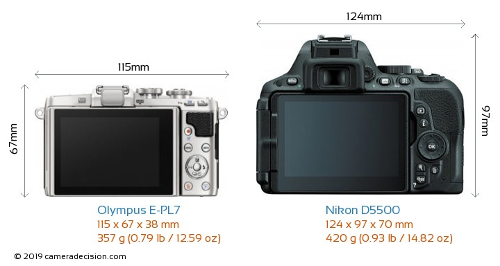 Olympus E-PL7 vs Nikon D5500 Camera Size Comparison - Back View