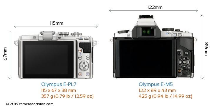 Olympus E-PL7 vs Olympus E-M5 Camera Size Comparison - Back View