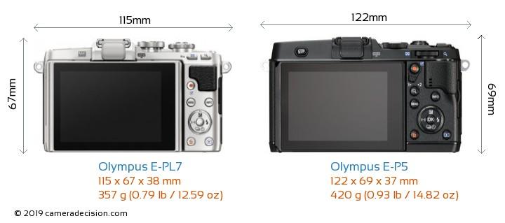 Olympus E-PL7 vs Olympus E-P5 Camera Size Comparison - Back View
