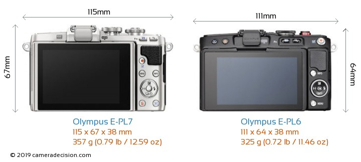 Olympus E-PL7 vs Olympus E-PL6 Camera Size Comparison - Back View