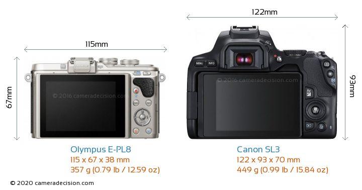 Olympus E-PL8 vs Canon SL3 Camera Size Comparison - Back View