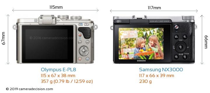 Olympus E-PL8 vs Samsung NX3000 Camera Size Comparison - Back View