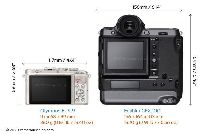 Olympus E-PL9 vs Fujifilm GFX 100 Camera Size Comparison - Back View