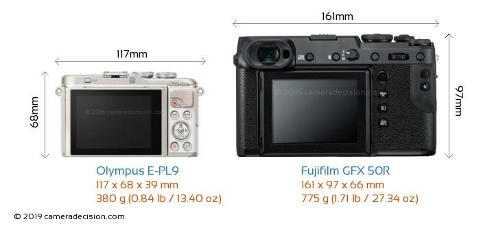Olympus E-PL9 vs Fujifilm GFX 50R Camera Size Comparison - Back View