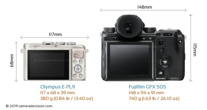 Olympus E-PL9 vs Fujifilm GFX 50S Camera Size Comparison - Back View