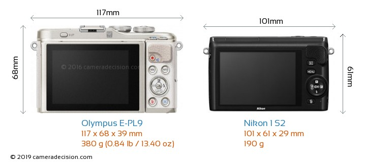 Olympus E-PL9 vs Nikon 1 S2 Camera Size Comparison - Back View
