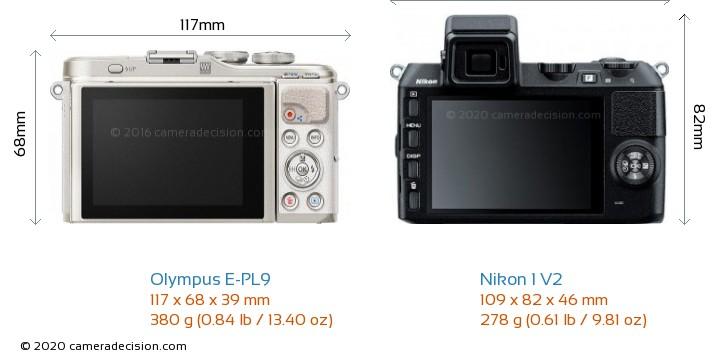 Olympus E-PL9 vs Nikon 1 V2 Camera Size Comparison - Back View