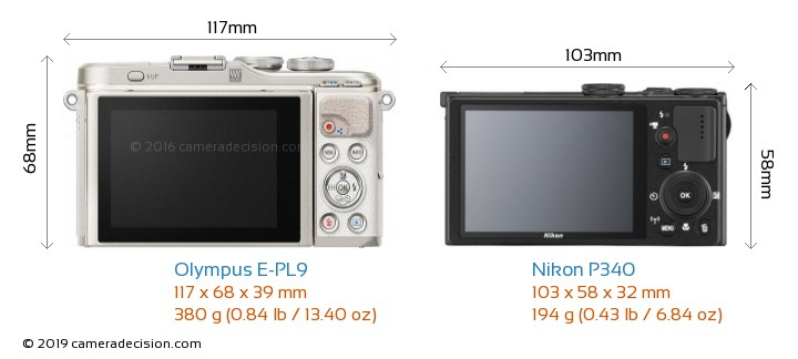 Olympus E-PL9 vs Nikon P340 Camera Size Comparison - Back View
