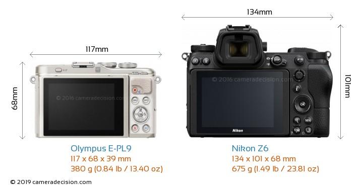 Olympus E-PL9 vs Nikon Z6 Camera Size Comparison - Back View