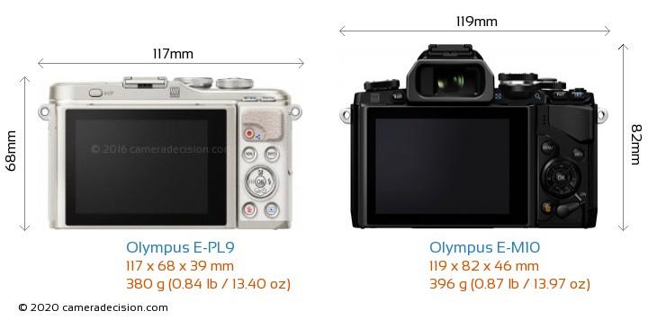 Olympus E-PL9 vs Olympus E-M10 Camera Size Comparison - Back View