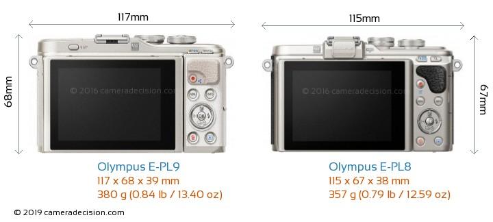 Olympus E-PL9 vs Olympus E-PL8 Camera Size Comparison - Back View