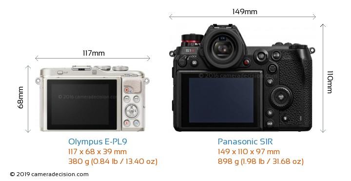 Olympus E-PL9 vs Panasonic S1R Camera Size Comparison - Back View