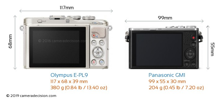 Olympus E-PL9 vs Panasonic GM1 Camera Size Comparison - Back View
