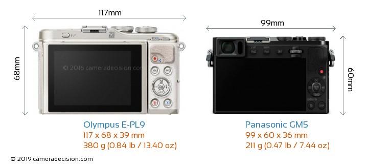 Olympus E-PL9 vs Panasonic GM5 Camera Size Comparison - Back View