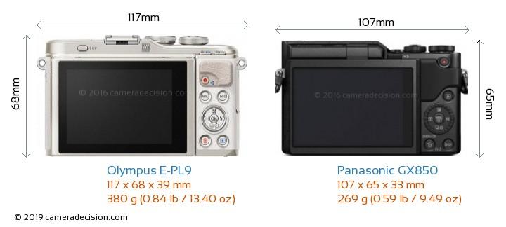 Olympus E-PL9 vs Panasonic GX850 Camera Size Comparison - Back View