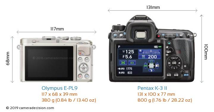 Olympus E-PL9 vs Pentax K-3 II Camera Size Comparison - Back View