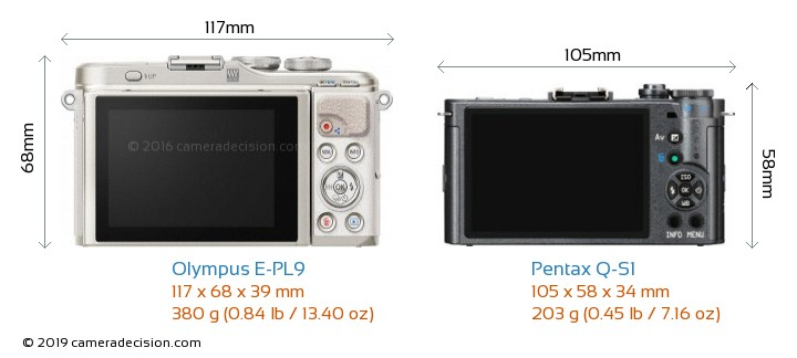 Olympus E-PL9 vs Pentax Q-S1 Camera Size Comparison - Back View