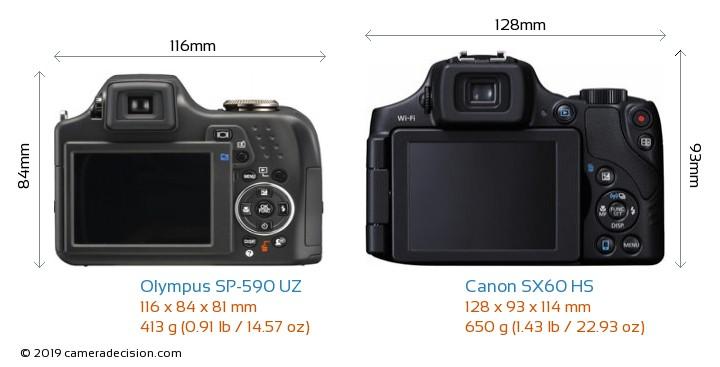 Olympus SP-590 UZ vs Canon SX60 HS Camera Size Comparison - Back View