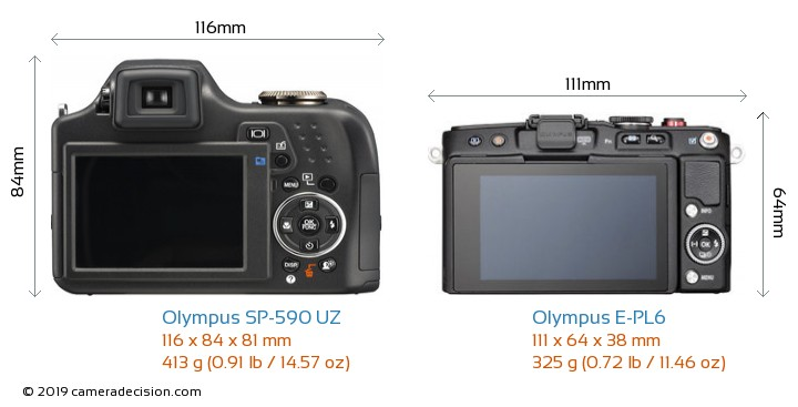 Olympus SP-590 UZ vs Olympus E-PL6 Camera Size Comparison - Back View