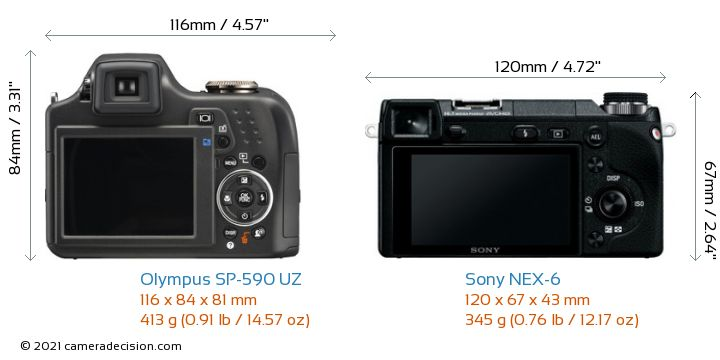 Olympus SP-590 UZ vs Sony NEX-6 Camera Size Comparison - Back View