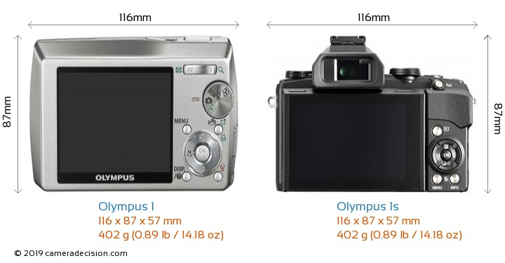 Olympus 1 vs Olympus 1s Camera Size Comparison - Back View