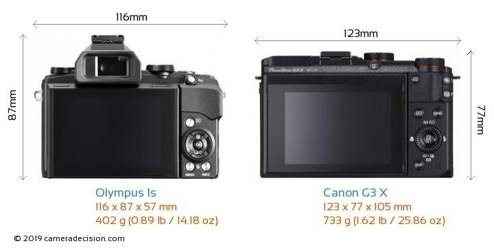 Olympus 1s vs Canon G3 X Camera Size Comparison - Back View