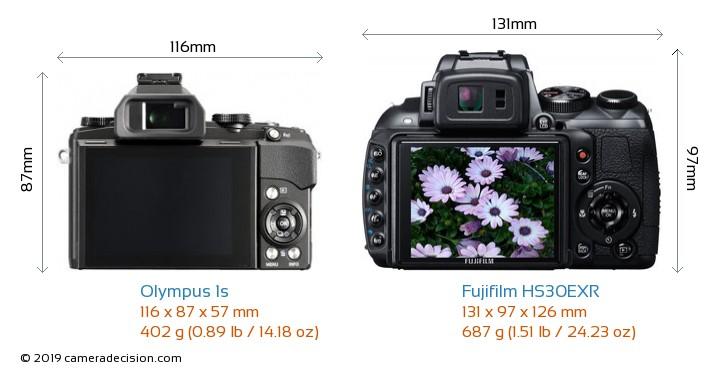 Olympus 1s vs Fujifilm HS30EXR Camera Size Comparison - Back View