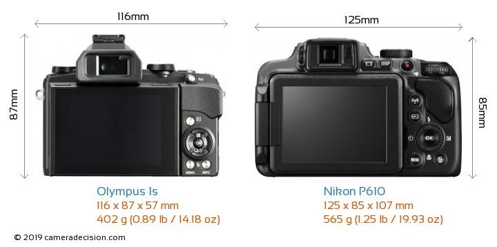 Olympus 1s vs Nikon P610 Camera Size Comparison - Back View