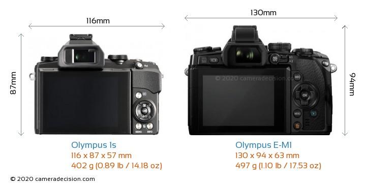 Olympus 1s vs Olympus E-M1 Camera Size Comparison - Back View