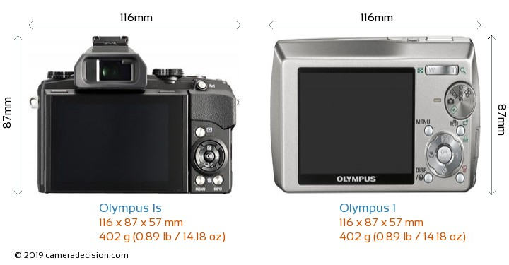 Olympus 1s vs Olympus 1 Camera Size Comparison - Back View