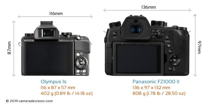 Olympus 1s vs Panasonic FZ1000 II Camera Size Comparison - Back View