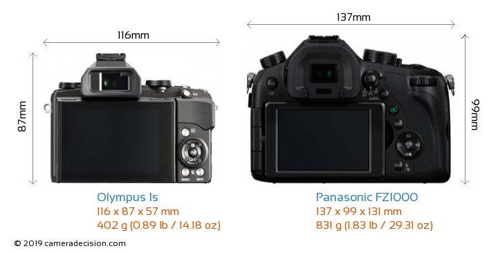 Olympus 1s vs Panasonic FZ1000 Camera Size Comparison - Back View