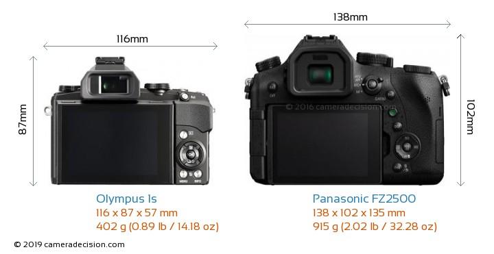 Olympus 1s vs Panasonic FZ2500 Camera Size Comparison - Back View