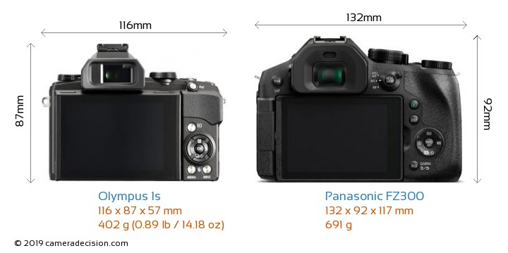 Olympus 1s vs Panasonic FZ300 Camera Size Comparison - Back View