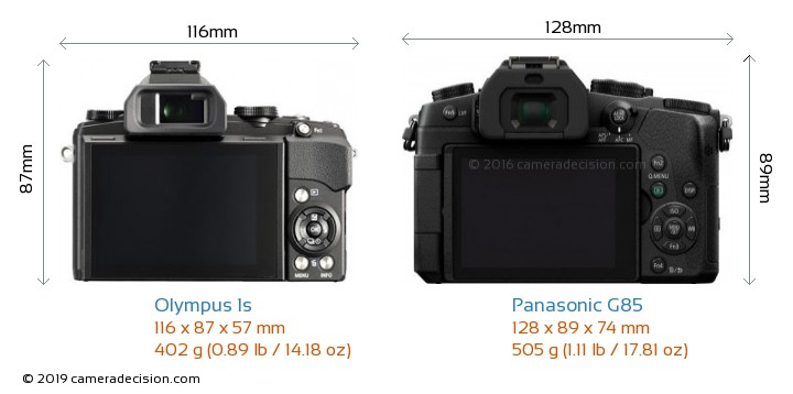 Olympus 1s vs Panasonic G85 Camera Size Comparison - Back View